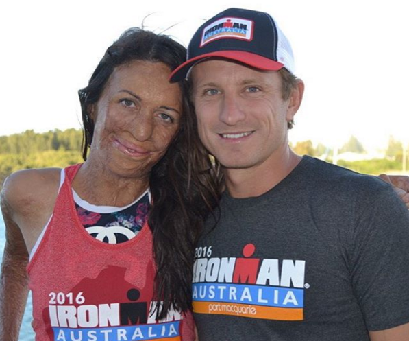 After a gruelling 3.8km swim, 180km cycle and 42.2km run, Turia completed an ironman triathlon, supported by her loving partner.