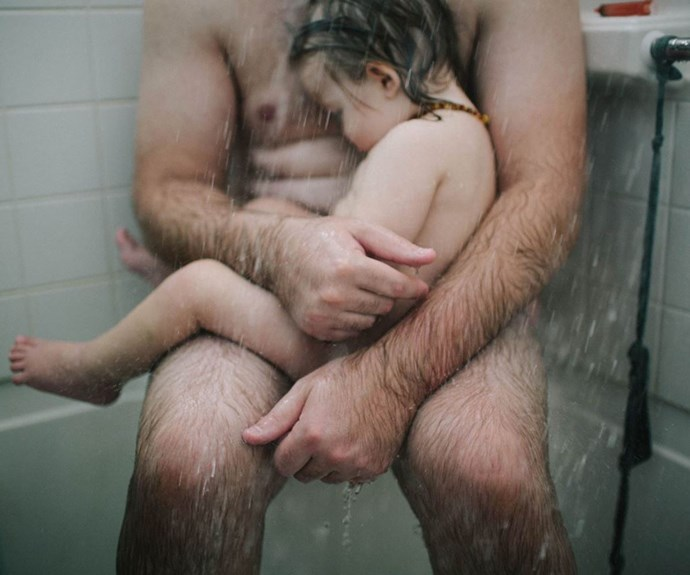Dad with sick child