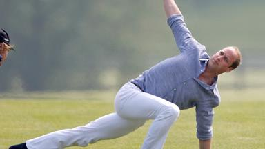 Prince William does yoga in white jeans