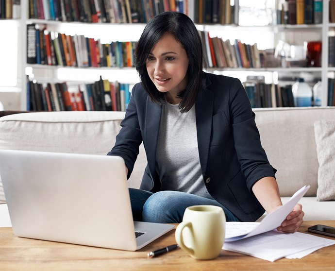 Woman checking finances online