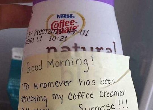 Hilarious office revenge for stealing 'cream'