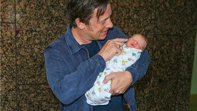 Jamie Oliver shares first outing with newborn baby