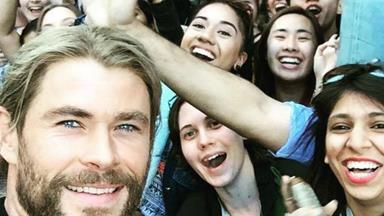 Chris Hemsworth is making everyone's day in Brisbane