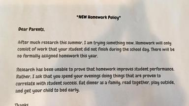 Teacher's homework policy goes viral