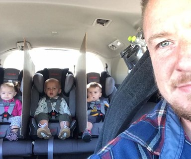 Dad's genius hack to stop triplets fighting in car