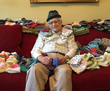 Elderly man learns to knit, donates beanies to premature babies