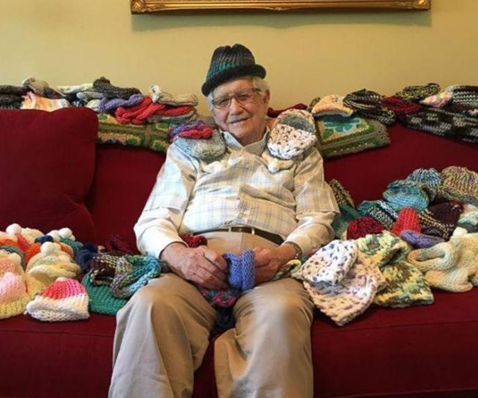Sweet, elderly man knits beanies for premature babies.