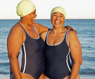 Women swimming at the beach