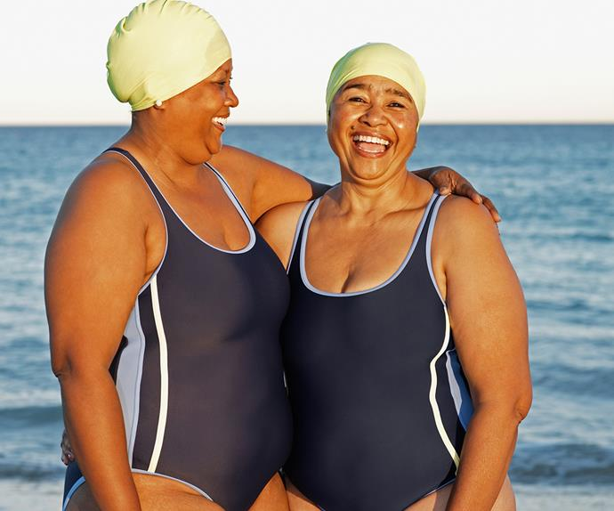 Women swimming at the beach