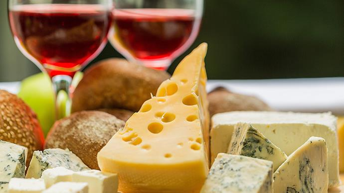 Wine and cheeseboard