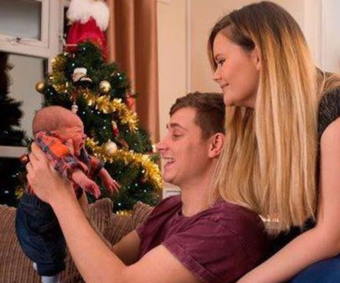 Jessica Jenkins and her husband Rhys with their newborn son, Jack.