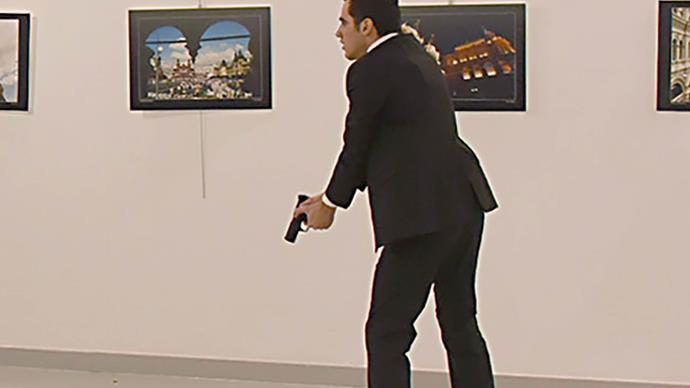 The shocking moment a Russian ambassador was assassinated