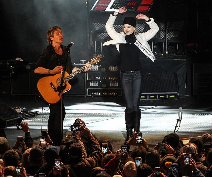 Nicole Kidman dances at a Keith Urban New Year's Eve gig