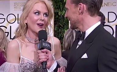 Watch Nicole Kidman hilariously interrupt Tom Hiddleston's interview on the Golden Globes red carpet
