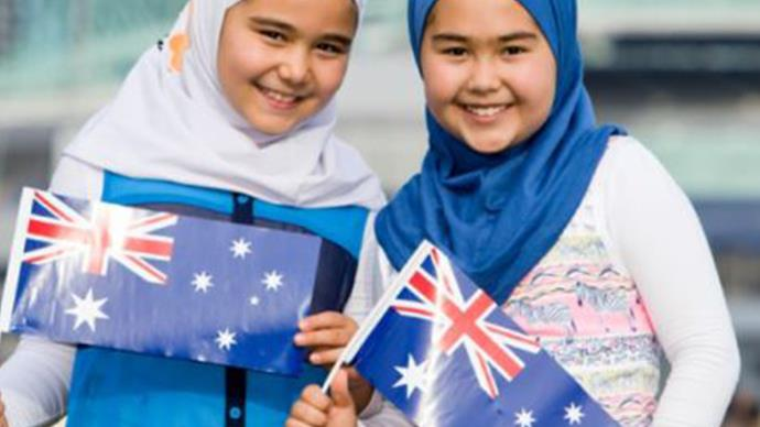 Two girls in hijabs celebrating Australia Day in 2016.