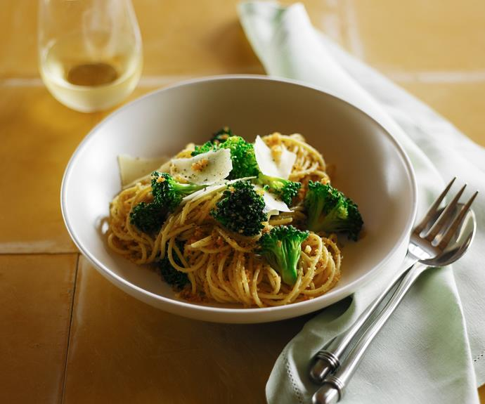 "**[Broccoli and garlic breadcrumb spaghetti](https://www.womensweeklyfood.com.au/recipes/broccoli-and-garlic-breadcrumb-spaghetti-30672|target=""_blank"")**  Add an irresistible crunch to your pasta with this scrumptious garlicky crumb, served here with bright broccoli and punchy parmesan."