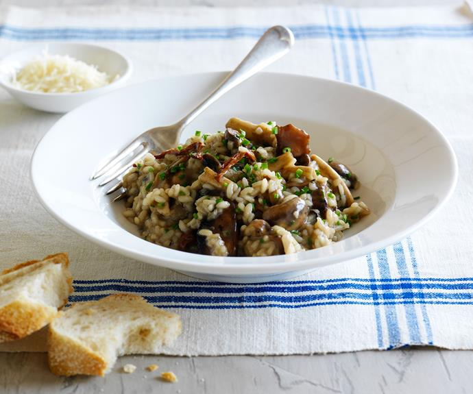 "**[Wild mushroom risotto](https://www.womensweeklyfood.com.au/recipes/wild-mushroom-risotto-30675|target=""_blank"")**  This gorgeous vegetarian risotto uses a mix of dried and fresh mushrooms to create a dish rich in warm, earthy flavours."