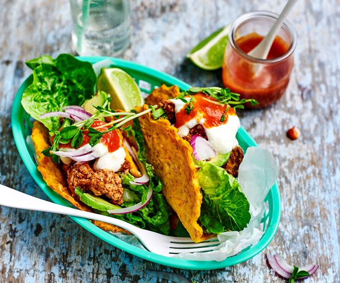 "**[Carrot and cheese taco shells with chipotle pork](https://www.womensweeklyfood.com.au/recipes/cheese-carrot-taco-shells-30687|target=""_blank"")**  Homemade taco shells made from carrot and bitey cheese have a fraction the carbs of regular taco shells and exponentially tastier!"
