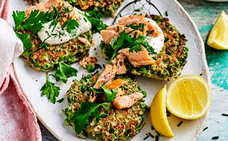 Pea and kale fritters with smoked salmon