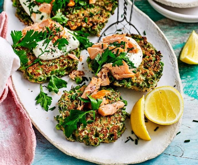 "Topped with lemon yoghurt and delicious flakes of hot smoked salmon, these [pea and kale fritters](https://www.womensweeklyfood.com.au/recipes/pea-and-kale-fritters-30686|target=""_blank"") are a tasty way to pack more veggies into your day."