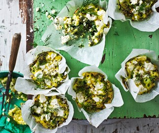 Mini frittatas with herbs, spinach, and feta