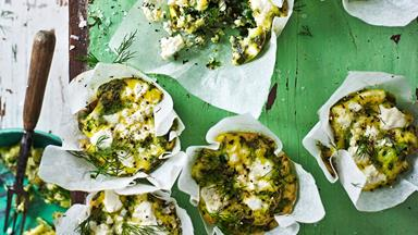 Green power mini frittatas with spinach and feta