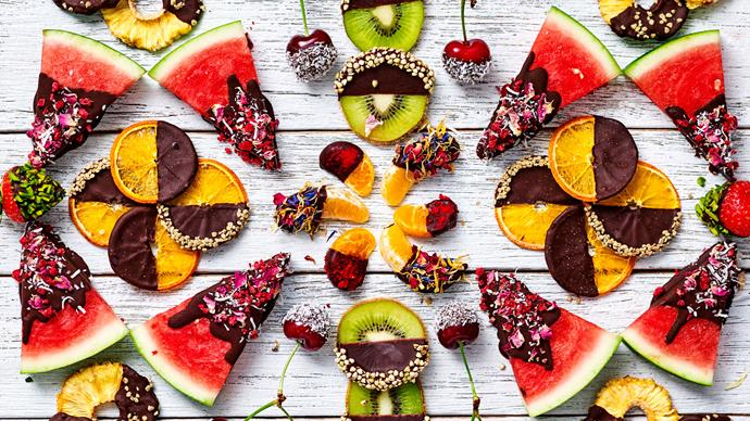 Chocolate dipped watermelon and fruit