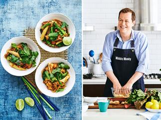 Tom Parker Bowles cooking and a photo of chicken noodle stir fry