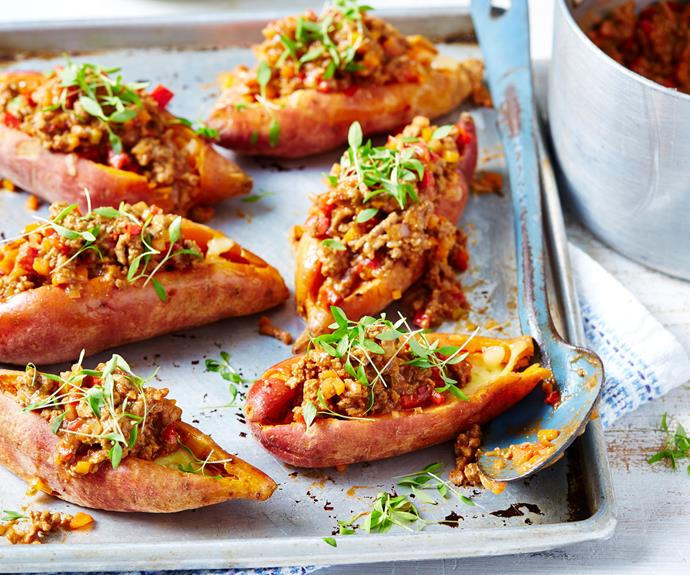 """**[Jacket sweet potato sloppy joes](https://www.womensweeklyfood.com.au/recipes/jacket-sweet-potato-sloppy-joes-30775