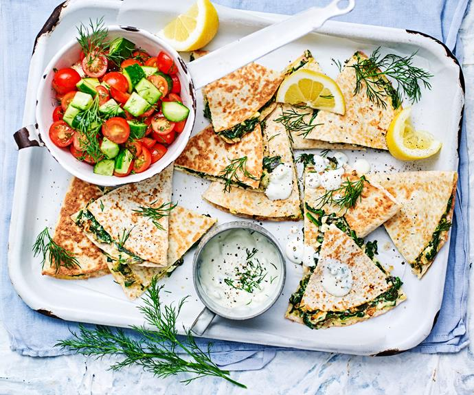 "**[Spanakopita quesadillas](https://www.womensweeklyfood.com.au/recipes/spanakopita-quesadillas-30779|target=""_blank"")**  How's this for fusion? Delicious Greek spinach and feta pie meets the easy, breezy Mexican quesadilla for a low-GI snack you'll make over and over."