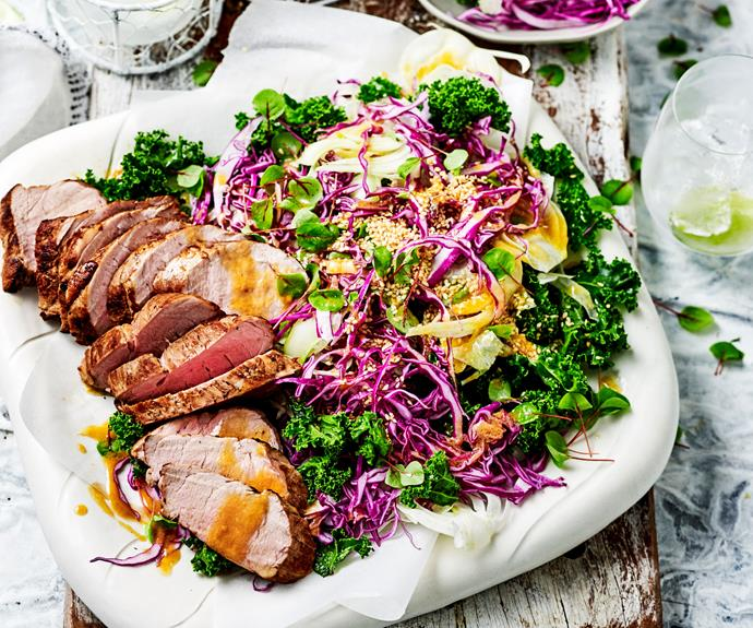 "**[Pork fillet salad with miso maple dressing](https://www.womensweeklyfood.com.au/recipes/pork-fillet-salad-with-miso-maple-dressing-30801|target=""_blank"")**  Pork fillet roasts quickly compared to other [cuts of meat](https://www.womensweeklyfood.com.au/best-meat-cuts-slow-cooker-roast-stir-fry-bbq-1357