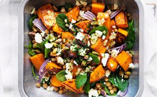 Roast pumpkin, feta and chickpea salad