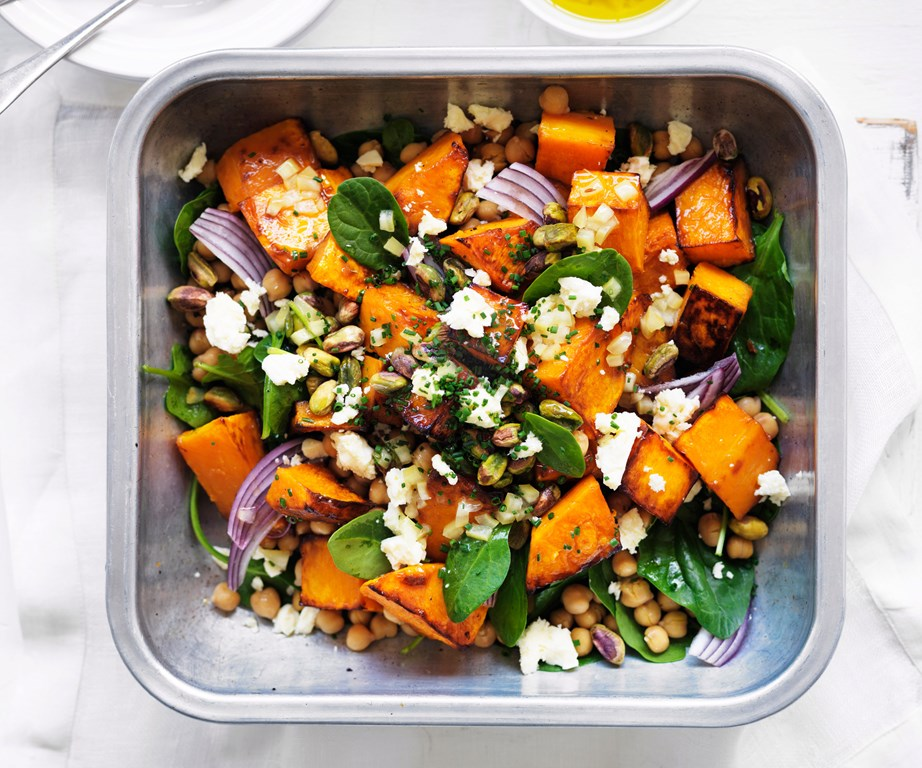 "This [roast pumpkin, feta and chickpea salad](https://www.womensweeklyfood.com.au/recipes/roast-pumpkin-feta-and-chickpea-salad-9002|target=""_blank"") is a fabulous and health work lunch."
