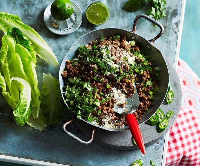 """**[Beef larb](https://www.womensweeklyfood.com.au/recipes/beef-larb-24988