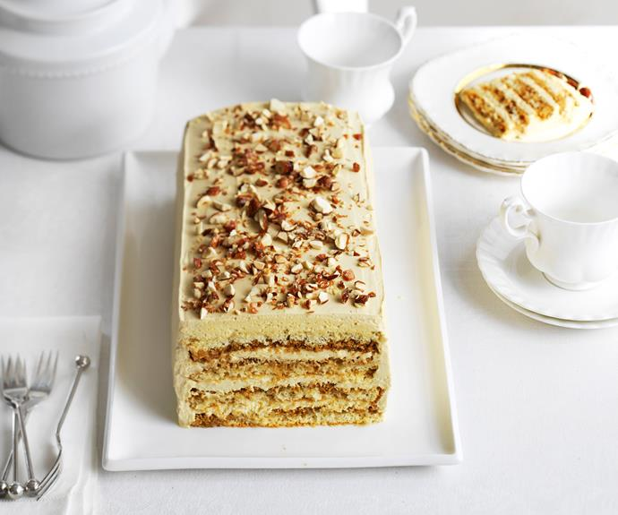 "Imagine a classic tiramisu layered on top of another tiramisu and then coated in delicious mascarpone frosting and toffee-coated Vienna almonds and you'll still only *just* comprehend the the marvel that is this [tiramisu torte](https://www.womensweeklyfood.com.au/recipes/tiramisu-torte-11730|target=""_blank"")."