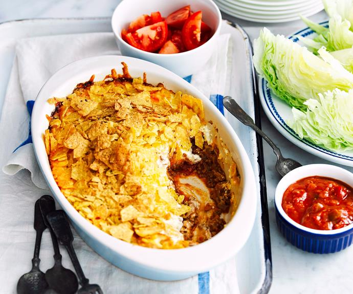 "**[Julie Goodwin's nachos pie recipe](https://www.womensweeklyfood.com.au/recipes/nachos-pie-23929|target=""_blank"")**  ""This is a winner in our house, as it combines two of the boys' favourites – pies and nachos! It serves six with lettuce, tomatoes, salsa and extra corn chips."" - Julie Goodwin"