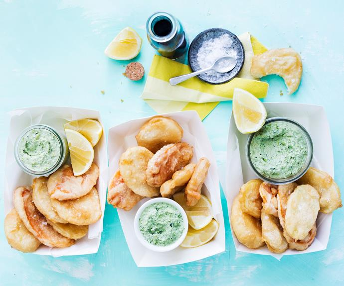 "**[Beer battered potato scallops with minty edamame](https://www.womensweeklyfood.com.au/recipes/potato-scallop-recipe-beer-batter-30820|target=""_blank"")**  Beer battered potato scallops are a [fish and chip](https://www.womensweeklyfood.com.au/recipes/beer-battered-fish-and-chips-7919
