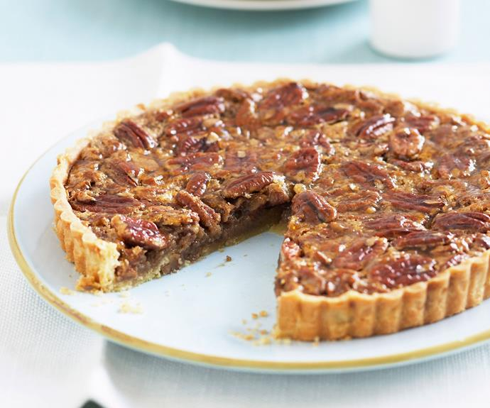 "[Pecan pie](https://www.womensweeklyfood.com.au/recipes/pecan-pie-6316|target=""_blank"") is a real taste of the deep south of the USA, the tender nuts buried deep in a rich, molasses-sweet syrup. Best served with double cream or ice-cream."