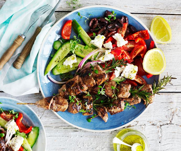 "**[Lemon & garlic lamb kebabs with chunky Greek salad](https://www.womensweeklyfood.com.au/recipes/greek-salad-with-lamb-2684|target=""_blank"")**  A simple and healthy Greek salad recipe is a perfect side dish, or with the addition of these grilled lemon & garlic kebabs you can make a whole, healthy meal!"