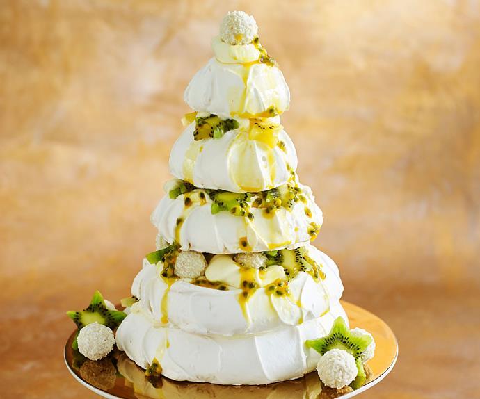 tropical meringue pavlova christmas tree