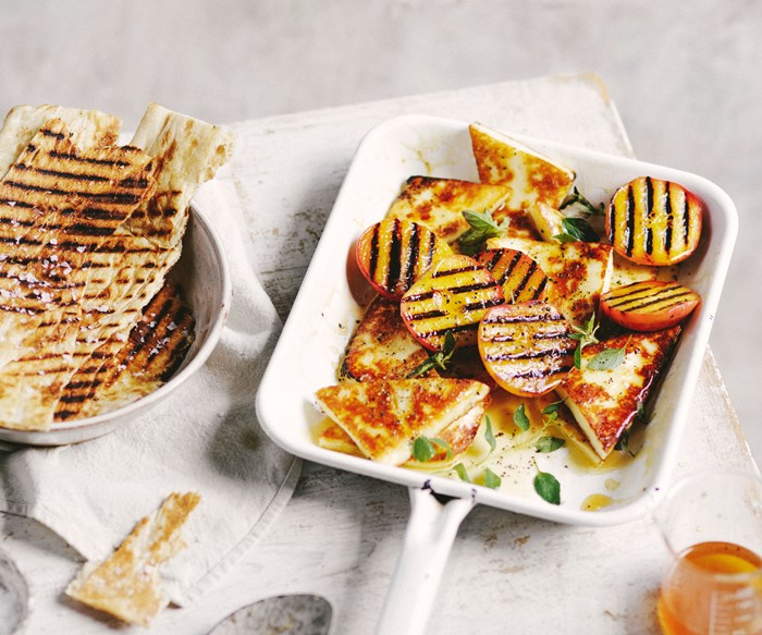 Grilled saganaki cheese with grilled peaches & honey