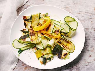 Sage & zucchini-wrapped haloumi salad