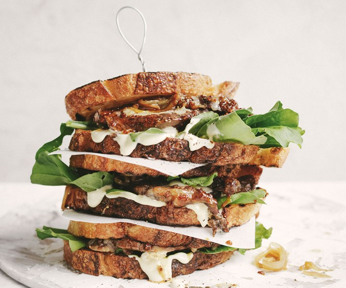 steak sandwich with toffee onion and malted mustard