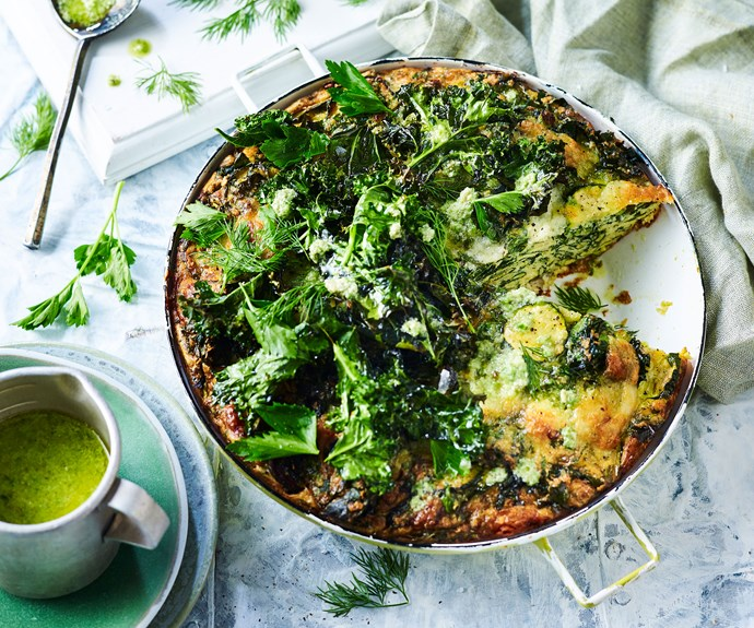 "This [kale and quinoa frittata recipe](https://www.womensweeklyfood.com.au/recipes/kale-frittata-recipe-30895|target=""_blank"") is packed with healthy greens, rich in Vitamin A, as well as low-GI carbohydrates which help prevent spikes in blood sugar."