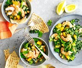 Prawn, kale, and chickpea tabbouleh