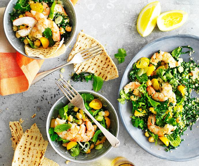 """**[Prawn, kale, and chickpea tabbouleh](https://www.womensweeklyfood.com.au/recipes/kale-tabbouleh-30897