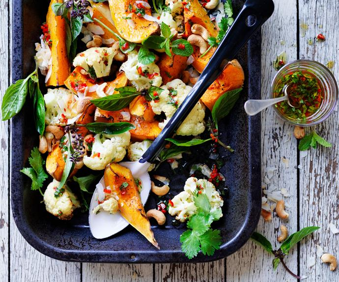 "**[Coconut-roasted pumpkin, cauliflower & chilli-lime cashews](https://www.womensweeklyfood.com.au/recipes/coconut-roasted-pumpkin-and-cauliflower-with-chilli-lime-and-cashews-14537|target=""_blank"")**  Add some brightness to your roast cauliflower and pumpkin with zesty chilli and lime cashews and the fresh, light flavour of coconut."