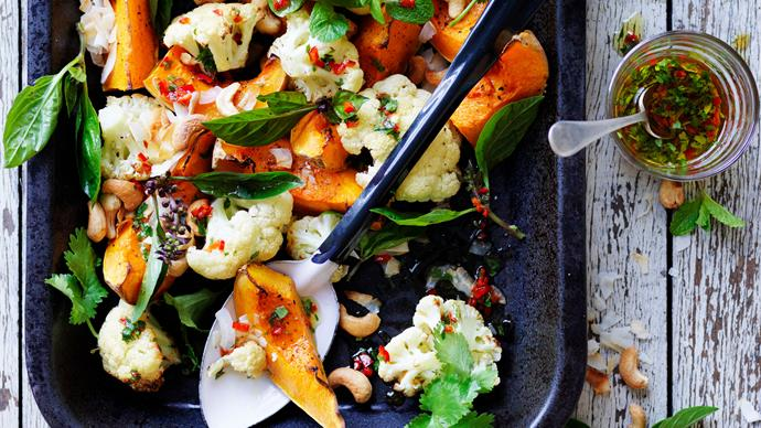 coconut-roasted pumpkin and cauliflower with chilli, lime and cashews