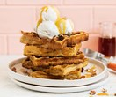 Vegan pumpkin maple waffles with pecan