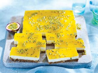 lemon passionfruit cheesecake slice